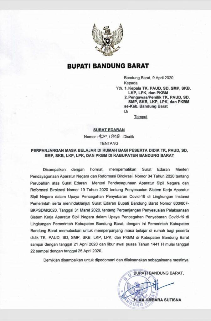 Surat Edaran Bupati Bandung Barat - Perpanjangan Masa ...